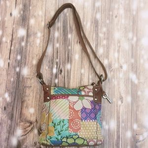 Fossil Tropical Hibiscus Floral Print Leather Bag